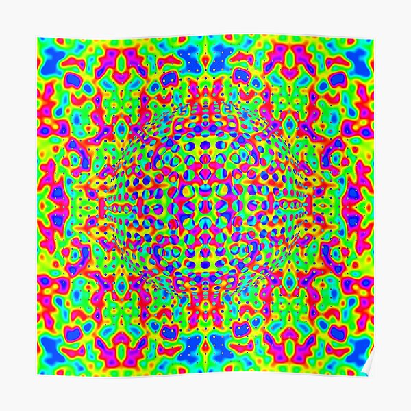 Psychedelic Art, Psychedelia, Psychedelic Pattern, 3d illusion Poster