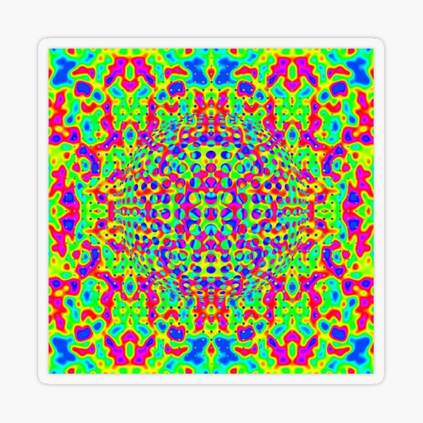 Psychedelic Art, Psychedelia, Psychedelic Pattern, 3d illusion Transparent Sticker