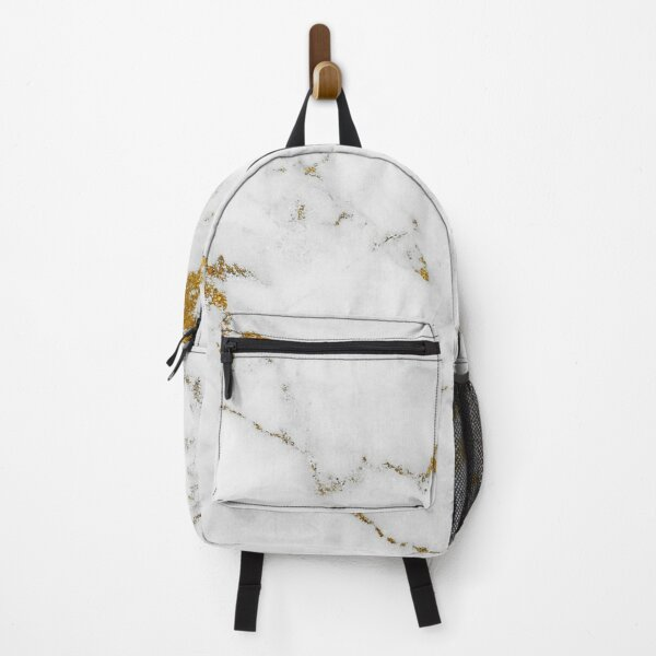 White Marble and Gold Backpack
