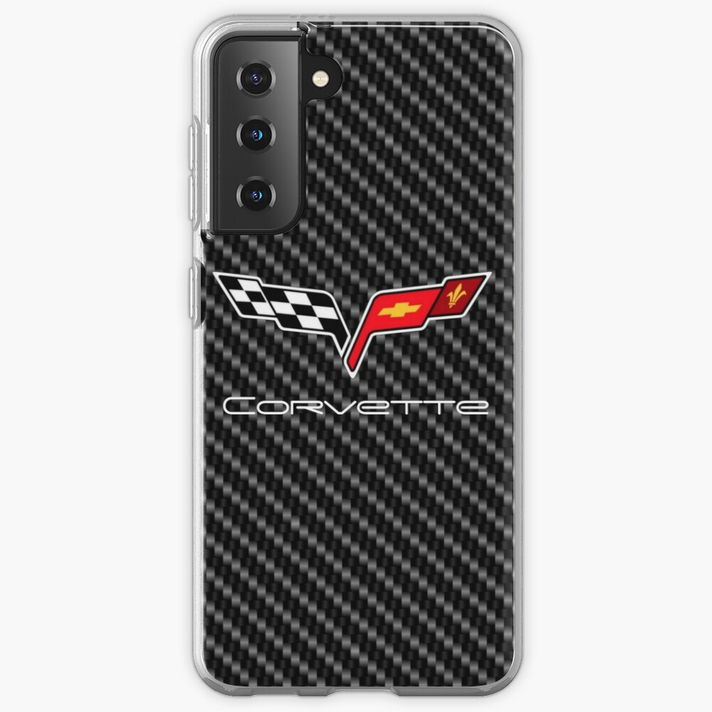 Corvette logo with Carbon Case & Skin for Samsung Galaxy