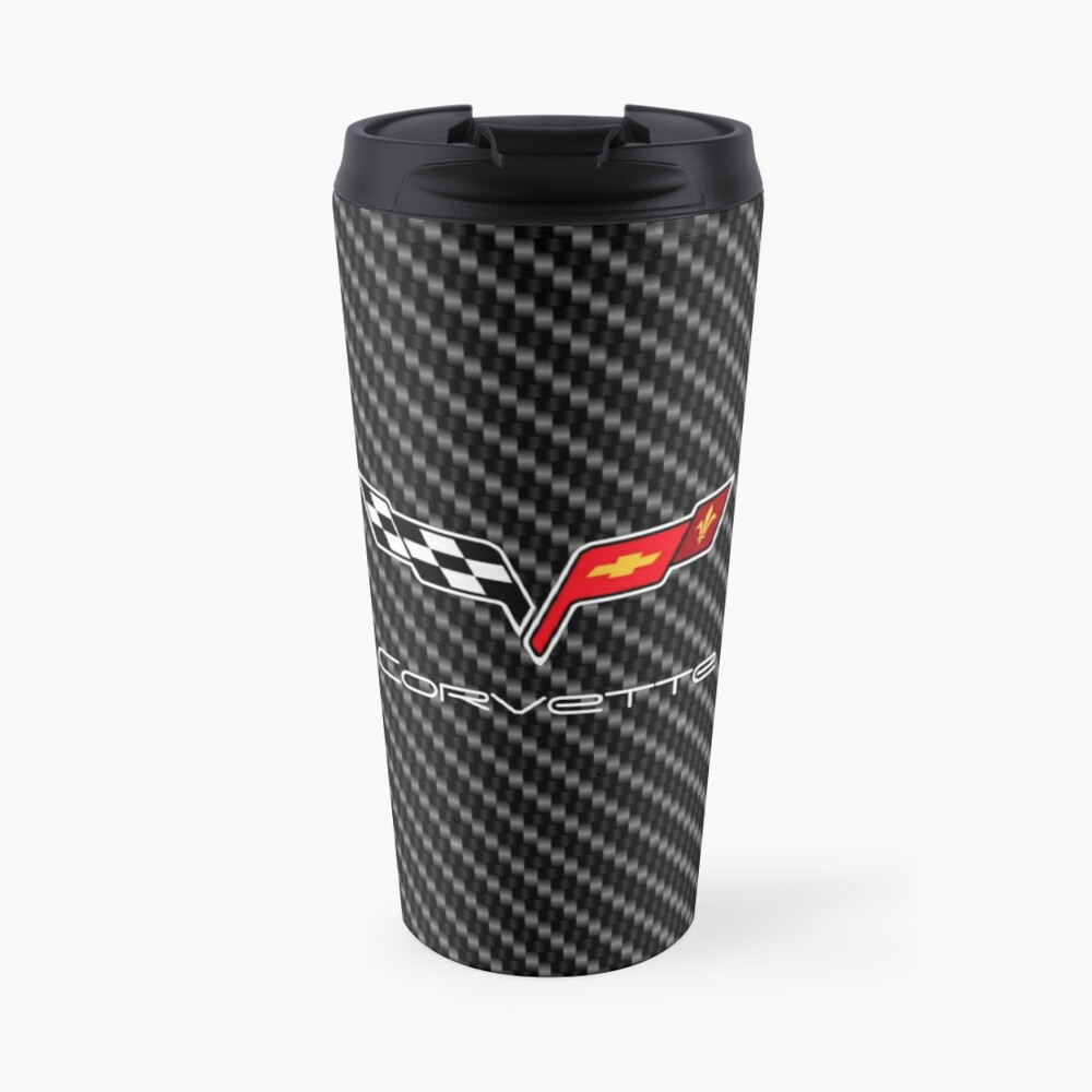 Corvette logo with Carbon Travel Mug