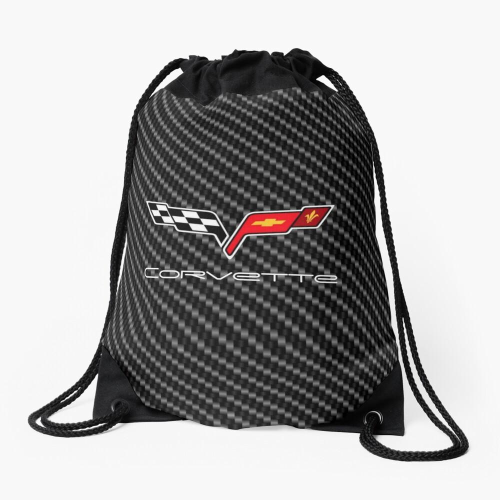 Corvette logo with Carbon Drawstring Bag