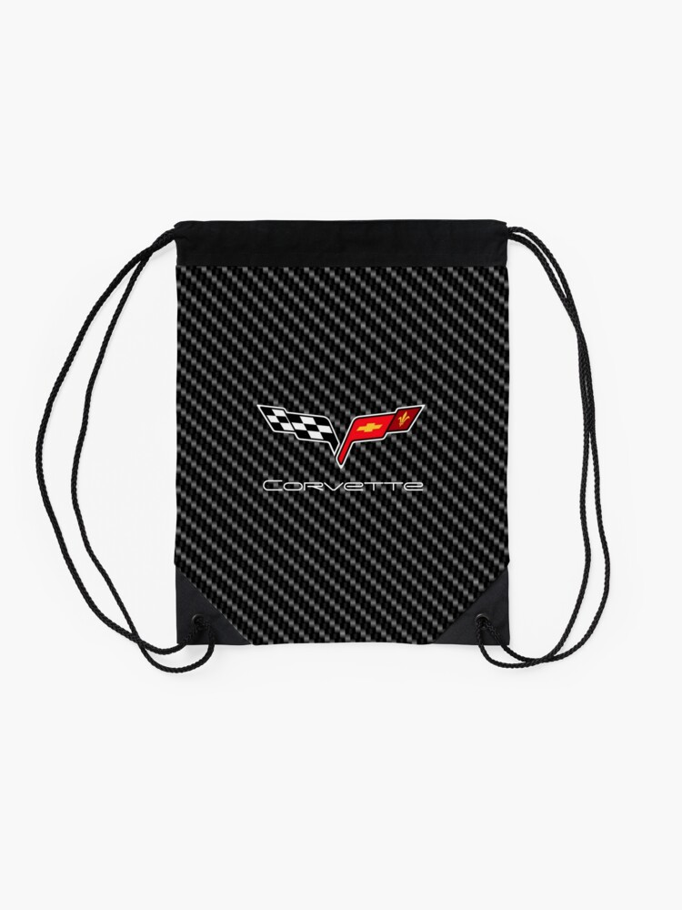 Alternate view of Corvette logo with Carbon Drawstring Bag
