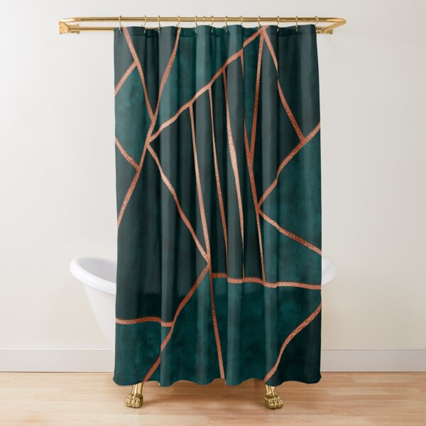 Emerald and Copper Geometry Shower Curtain