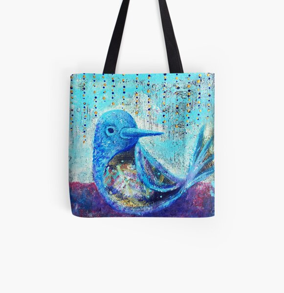 Bluebird of Happiness - Inner Power Painting by Magic with Mellie All Over Print Tote Bag