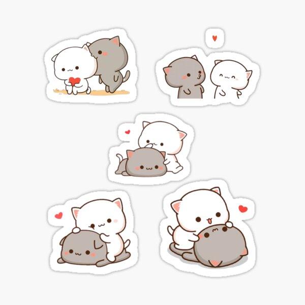 Pack d'autocollants d'amour de chat mignon Mochi Peach et Goma Sticker