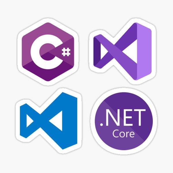 .Net Developer Sticker Pack : C#, Visual Studio, VS Code, .Net Core Sticker
