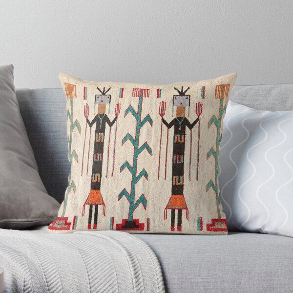 NAVAJO 1950 BLANKET SCAN - GENUINE NATIVE AMERICAN ART Throw Pillow