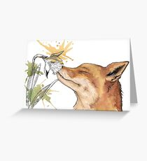 Fox with a flower  Greeting Card