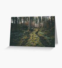 Boy walking through mystic forest landscape photography Greeting Card