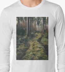 Boy walking through mystic forest landscape photography T-Shirt