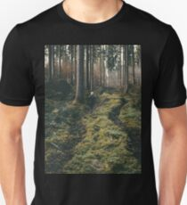 Boy walking through mystic forest landscape photography T-Shirt
