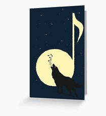 A song of Wolf and Moon Greeting Card
