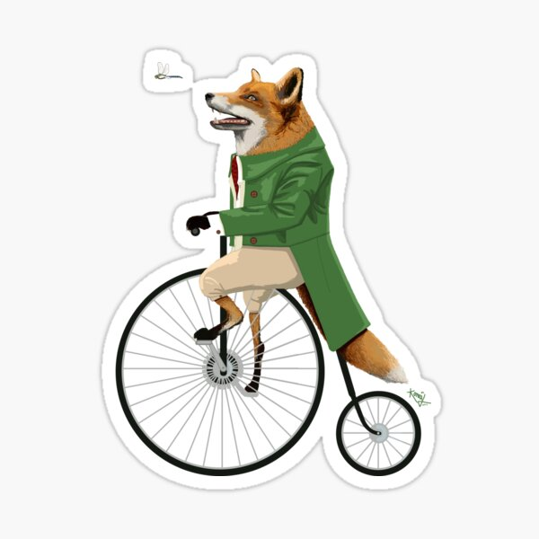 Fox riding bike in chase of dragonfly Sticker