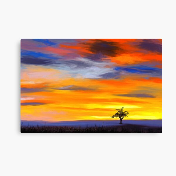 Landscape painting with a tree in the evening sun Canvas Print