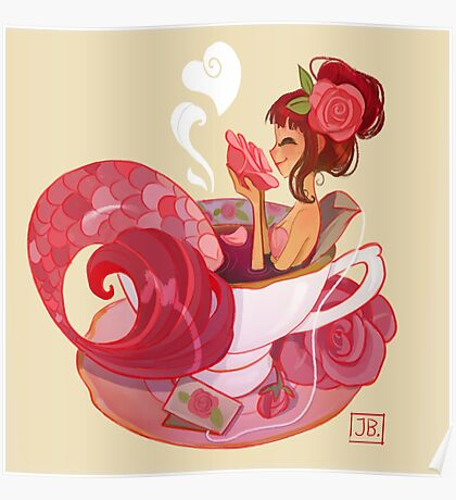 Tea Mermaid Poster
