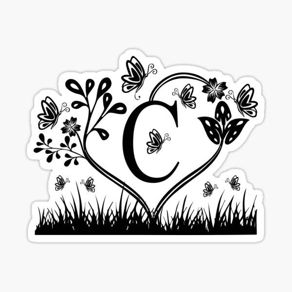 Monogram C, Last name monogram C, Flowers and Butterflies Monogram C Sticker
