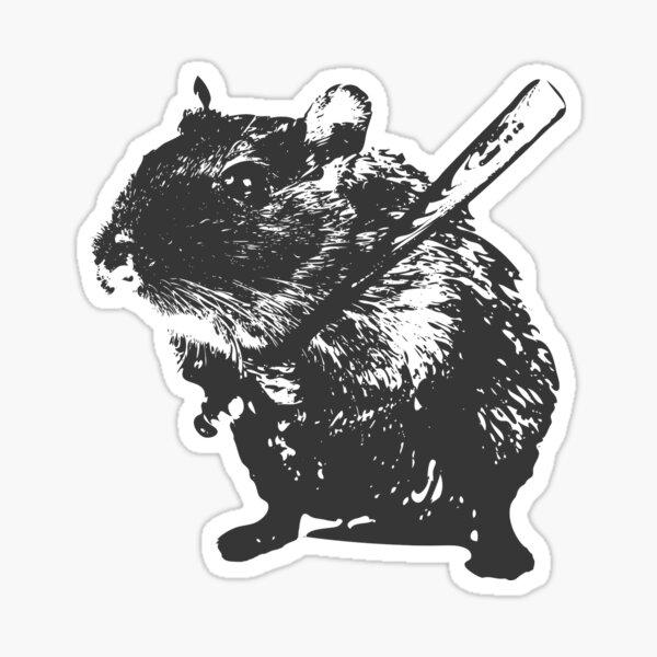Angry street art mouse / hamster (baseball edit) Sticker