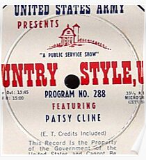 Patsy Cline, Country Style USA, US Army LP close up Poster