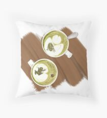 Green Frog Tea Throw Pillow
