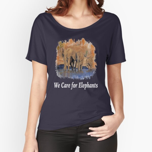 We Care for Elephants, animal lover, save the elephants design  Relaxed Fit T-Shirt