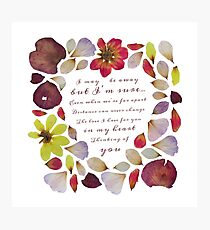 Flowery Valentine's Day Card Photographic Print