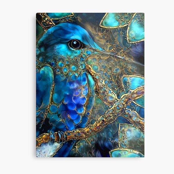 Hummingbird art blue SKY Metal Print