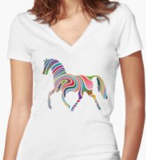 Artistic Colourful Horse Women's Fitted V-Neck T-Shirt