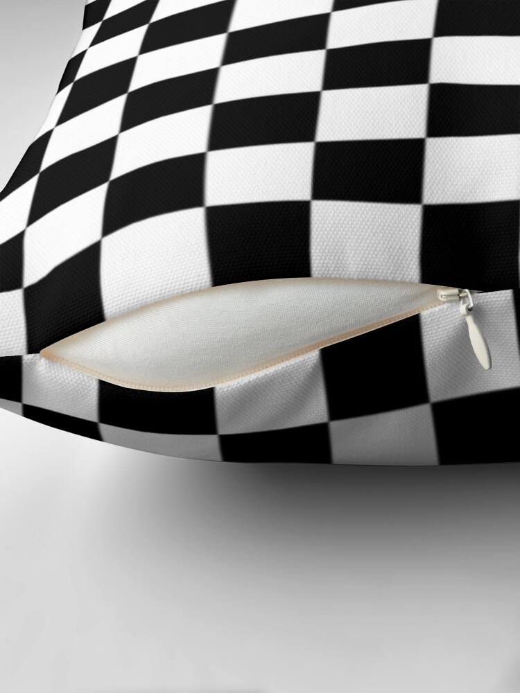 Alternate view of Black and white check board design  Throw Pillow