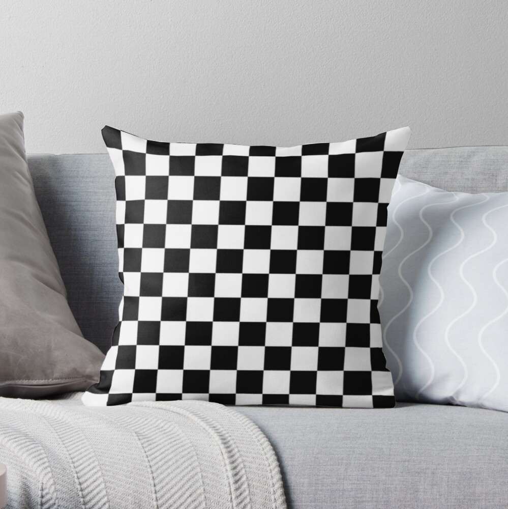 Black and white check board design  Throw Pillow