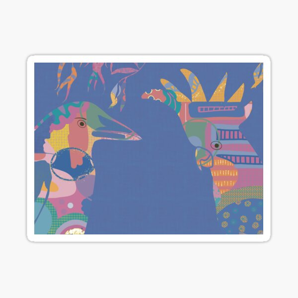 Abstract Magpie and Cockatoo in bright colours with blue background Sticker