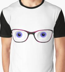 Blue Cartoon Eyes With Ladies Glasses Graphic T-Shirt