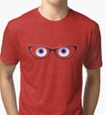 Blue Cartoon Eyes With Ladies Glasses Tri-blend T-Shirt