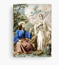 Christ and the woman of Samaria at Jacob's Well - 1856 - Currier & Ives Canvas Print