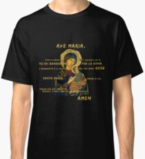 Ave Maria Virgen Mary Santa Gold Preghiera Pray Classic T-Shirt