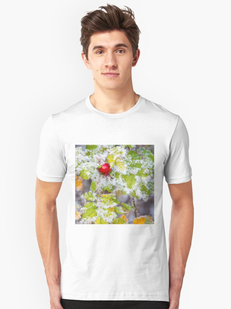 Alternate view of Rose hip and frozen leaves Slim Fit T-Shirt