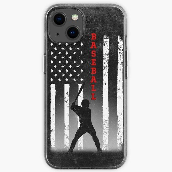 BASEBALL AMERICAN FLAG BLACK iPhone Soft Case