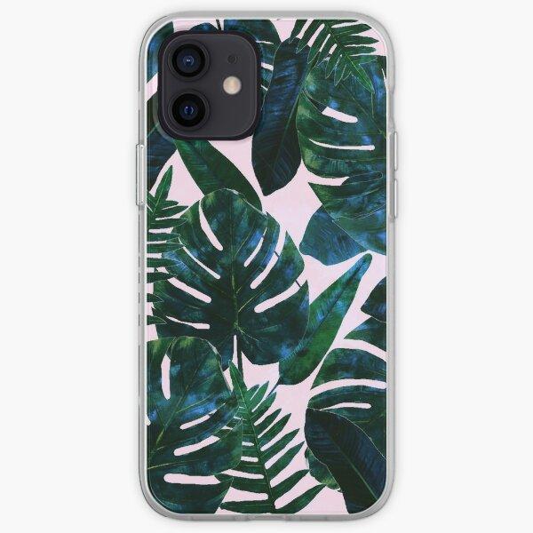 Perceptive Dream, Tropical Botanical Jungle Watercolor Painting, Monstera Palm Nature Bohemian Blush Illustration iPhone Soft Case
