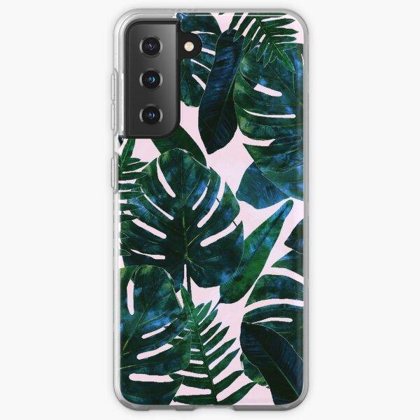Perceptive Dream, Tropical Botanical Jungle Watercolor Painting, Monstera Palm Nature Bohemian Blush Illustration Samsung Galaxy Soft Case
