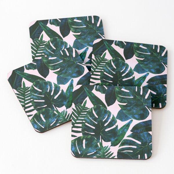 Perceptive Dream, Tropical Botanical Jungle Watercolor Painting, Monstera Palm Nature Bohemian Blush Illustration Coasters (Set of 4)