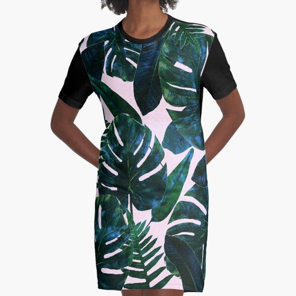 Perceptive Dream, Tropical Botanical Jungle Watercolor Painting, Monstera Palm Nature Bohemian Blush Illustration Graphic T-Shirt Dress