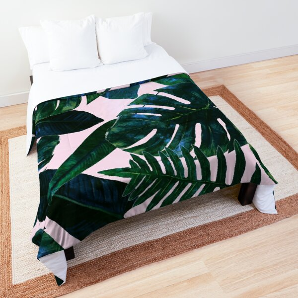 Perceptive Dream, Tropical Botanical Jungle Watercolor Painting, Monstera Palm Nature Bohemian Blush Illustration Comforter