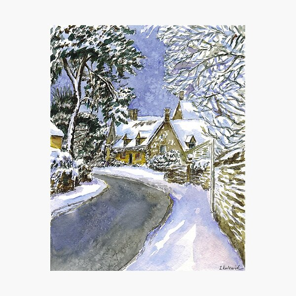Cotswolds in winter. Christmas landscape Photographic Print