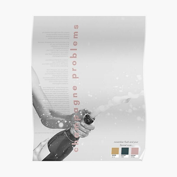 Champagne Problems Taylor Swift Poster - Evermore Album Poster