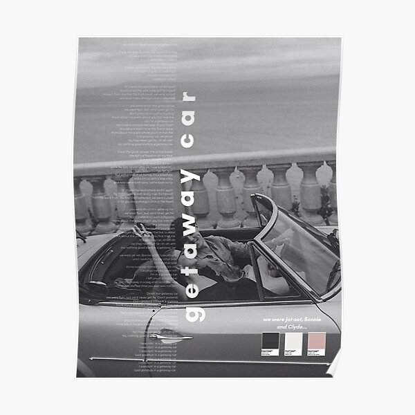 Getaway Car Taylor Swift Poster - Réputation Poster