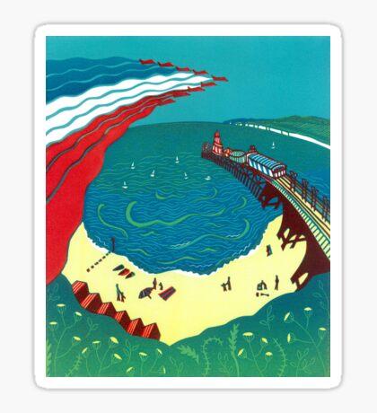 Red Arrows, Bournemouth Beach - Original linocut by Francesca Whetnall Sticker