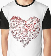 vintage red heart heart and flowers Graphic T-Shirt
