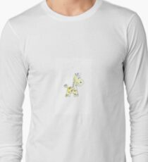 colorful sketch of giraffe on white background Long Sleeve T-Shirt