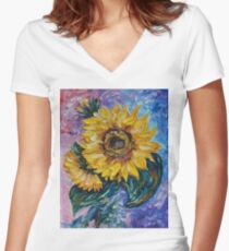 That Sunflower From The Sunflower State Women's Fitted V-Neck T-Shirt