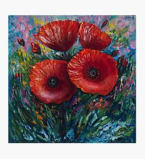 Red Poppies (Palette Knife Painting) by Lena Owens/OLena Art Photographic Print